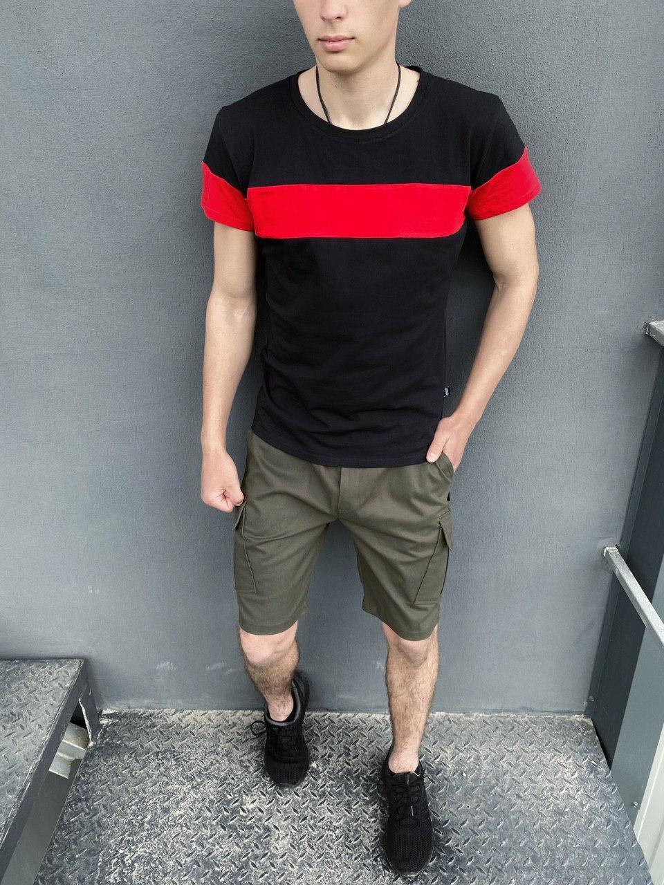 """Мужской летний комплект двойка Intruder """"Color Stripe"""" футболка черная - красная Шорты хаки"""