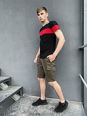 """Мужской летний комплект двойка Intruder """"Color Stripe"""" футболка черная - красная Шорты хаки, фото 2"""