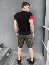 """Мужской летний комплект двойка Intruder """"Color Stripe"""" футболка черная - красная Шорты хаки, фото 3"""