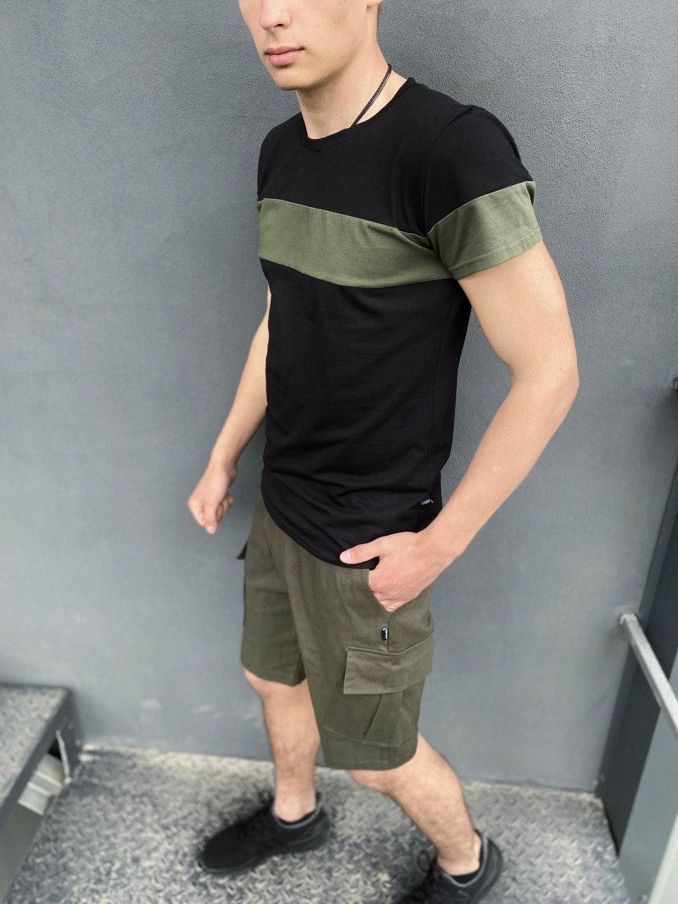 """Мужской летний комплект двойка Intruder """"Color Stripe"""" (футболка черная - хаки шорты хаки)"""