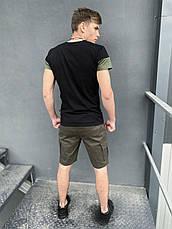 """Мужской летний комплект двойка Intruder """"Color Stripe"""" (футболка черная - хаки шорты хаки), фото 3"""