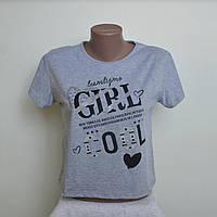"""Укороченная футболка """"Girl cool """" В РАСЦВЕТКАХ ! ОПТОМ !, фото 1"""