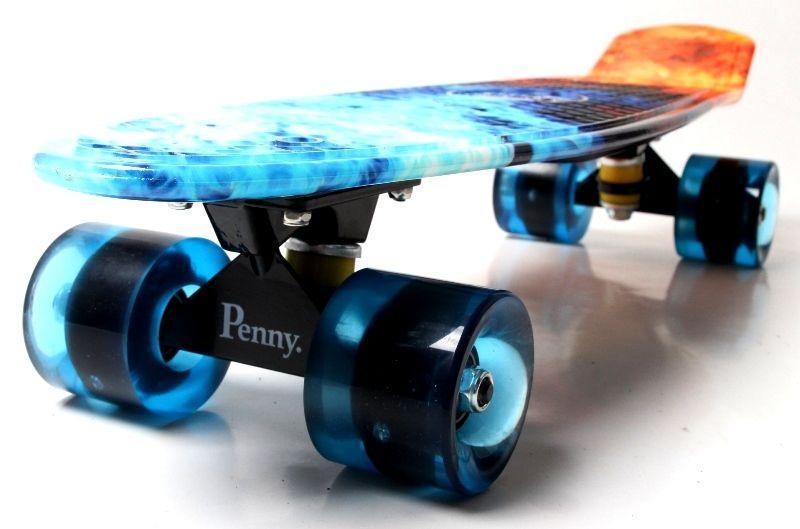 """Скейт """"Penny Board"""" """"ОГОНЬ И ЛЕД"""" Светящиеся колеса."""
