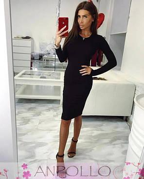Платье с длинным рукавом обтягивающее до колена вискоза, фото 2