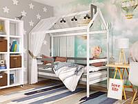 Детская кровать Домик Том. Деревянная кровать с бортиком