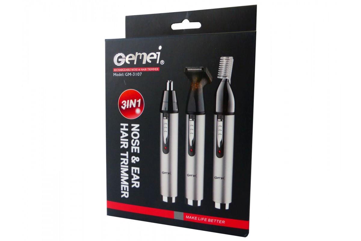 Портативный триммер для носа и ушей Gemei GM 3107 3 насадки