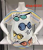 Легкая трикотажная женская турецкая  футболка  большого размера, 4234