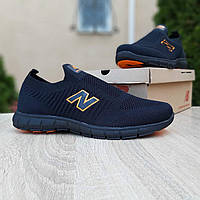 Мужские кроссовки в стиле New Balance тапки чёрные с оранжевым