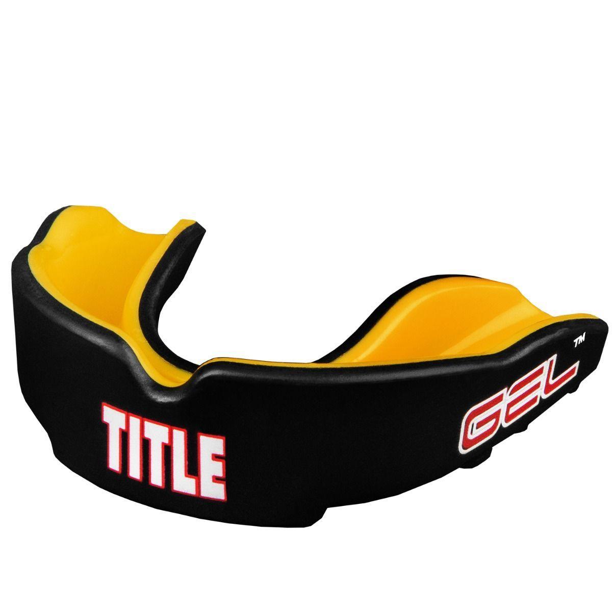 Капа боксерская TITLE Gel Victory Черная с желтым (Для взрослых)