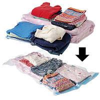 Вакуумный пакет для переезда и хранения вещей Vacum Bag 50*60 см с клапаном для пылесоса, прозрачный, фото 1