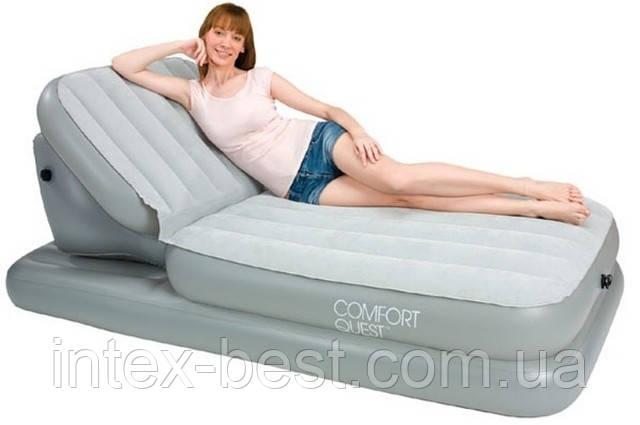 Односпальная надувная кровать BestWay 67386 (104х211х81 см.) с регулируемой спинкой