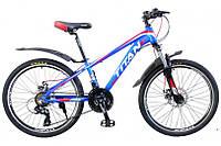 """Велосипед Titan Scorpion 24"""" 12"""" Голубой-Красный-Белый"""