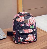 Рюкзак женский маленький с цветами Черный