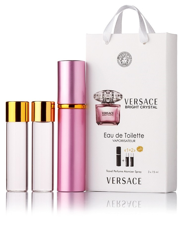 Туалетная вода женская Versace Bright Crystal edt 3X15 ml, Подарочная упаковка!