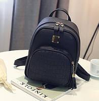 Кожаный женский рюкзак Экокожа Черный