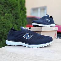 Мужские кроссовки в стиле New Balance тапки чёрные с белым, фото 1