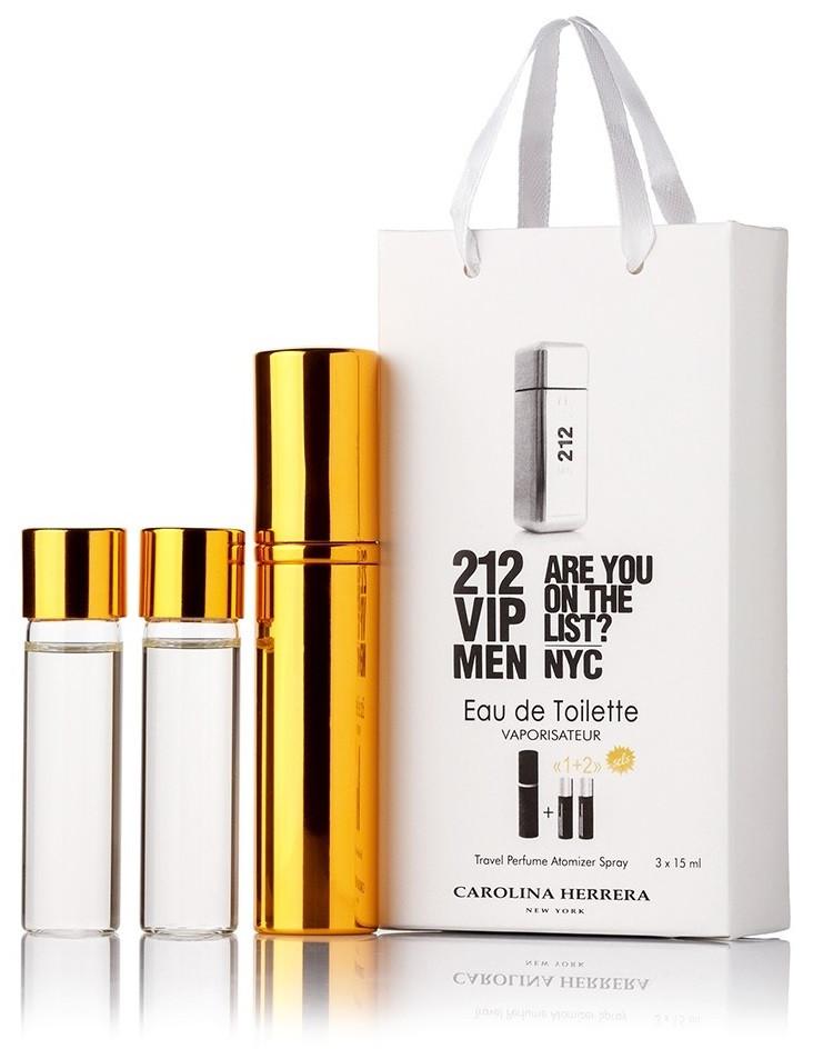Подарочный набор Carolina Herrera 212 VIP Men edt 3X15 ml, мужская туалетная вода!