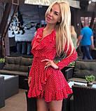 Платье женское короткое с воланами в горох Цвет : Цвет: красный, чёрный, белый, голубой, фото 5