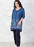 Повседневный женский трикотажный костюмчик: джинсовая туника и брюки из трикотажа размеры 48-62, фото 4