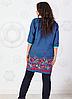 Повседневный женский трикотажный костюмчик: джинсовая туника и брюки из трикотажа размеры 48-62, фото 2