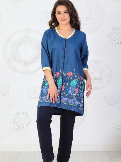 Повседневный женский трикотажный костюмчик: джинсовая туника и брюки из трикотажа размеры 48-62