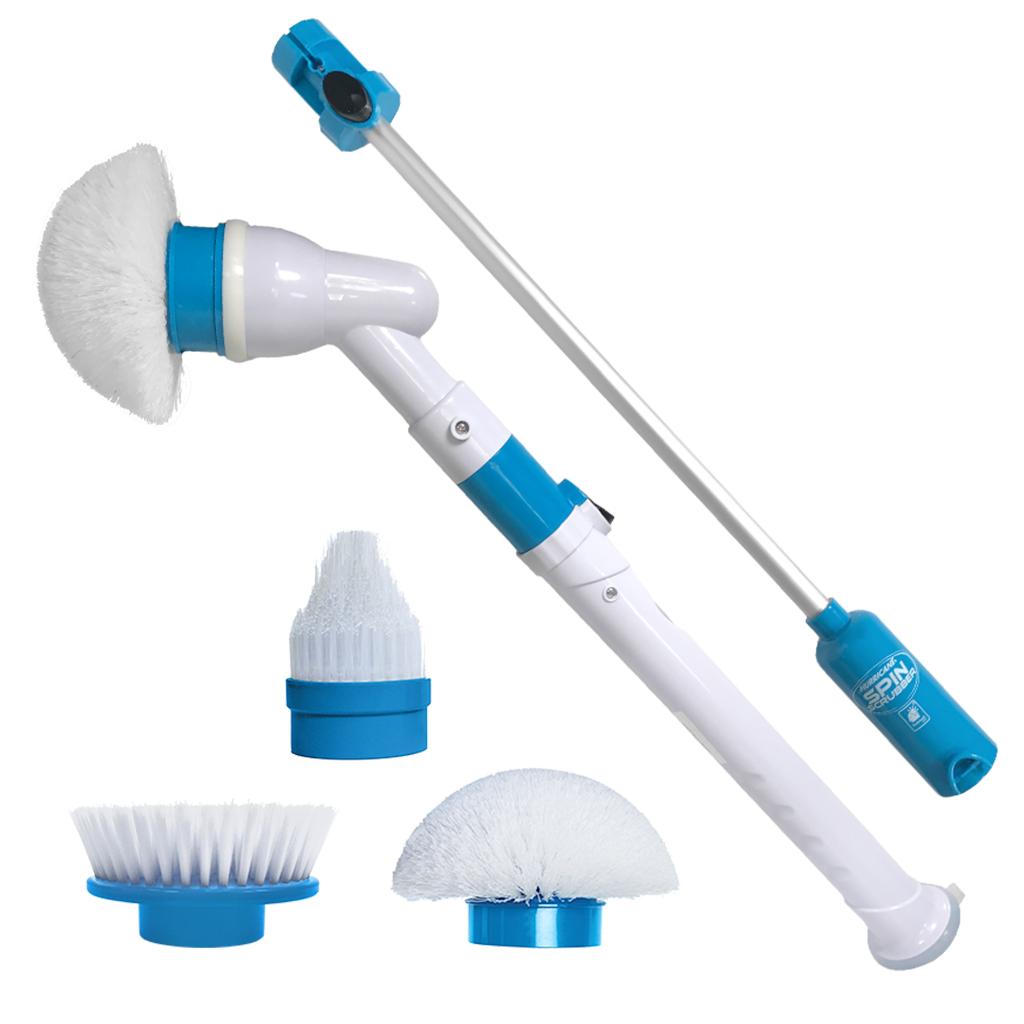 Электрическая щетка для влажной уборки SPIN SCRUBBER, телескопическая ручка, белая