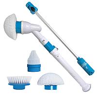 Электрическая щетка для влажной уборки SPIN SCRUBBER, телескопическая ручка, белая, фото 1