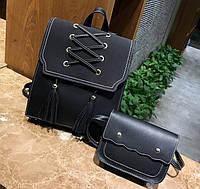 Набор 2 в 1 женский рюкзак + сумочка Черный