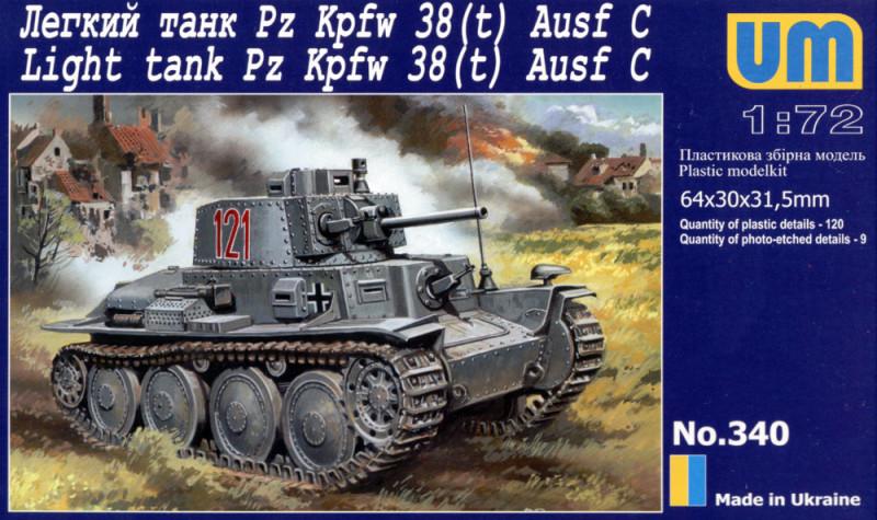Танк Pz Kpfw 38(t) Ausf. C. Сборная модель немецкого легкого танка. 1/72 UM 340