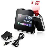 Часы метеостанция с проектором времени на стену Color Screen 8190 календарь, фото 1