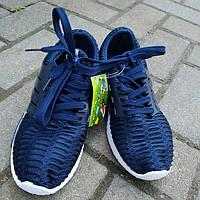 Кроссовки женские синие на шнуровке стильные, фото 1