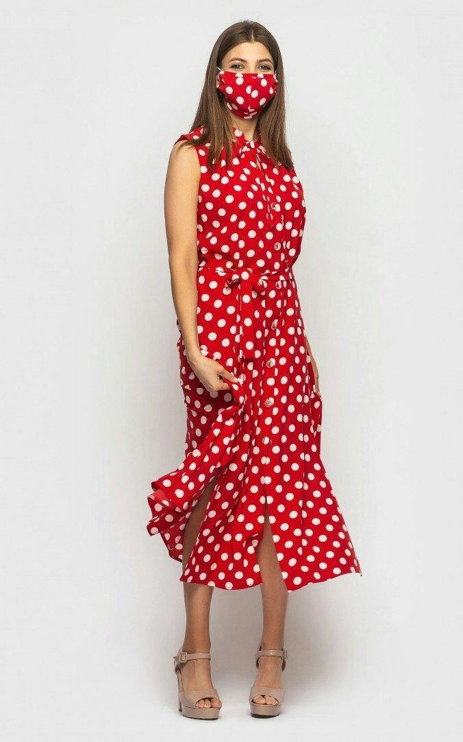 Летнее платье миди в горошек без рукава с поясом 45py1102