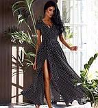 Платье длинное с запахом  в горох красный, чёрный, белый, пудра, фото 4