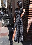 Платье длинное с запахом  в горох красный, чёрный, белый, пудра, фото 7