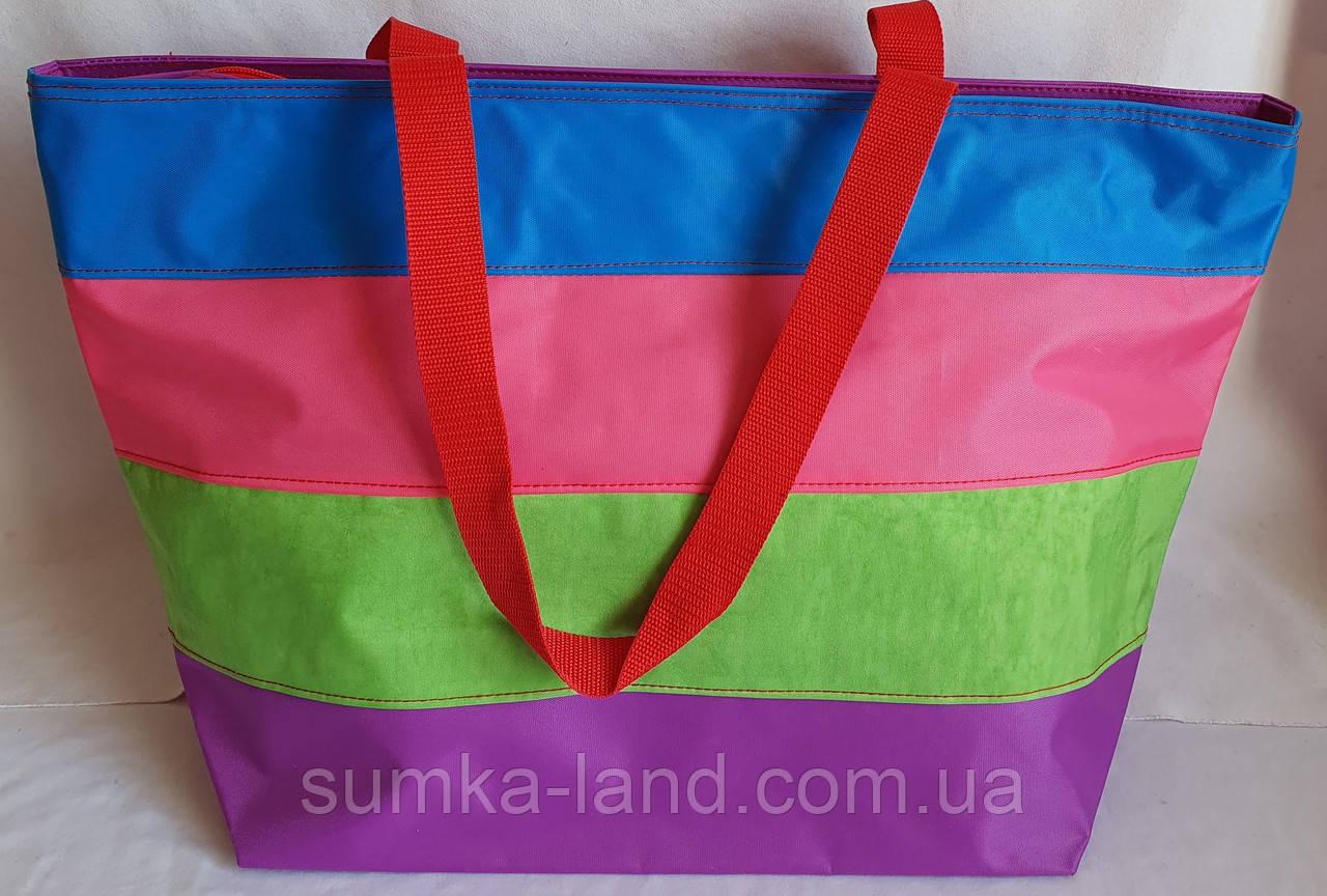 Женская разноцветная текстильная сумка на плечо пляжная и городская 35*33 см (полосатая)
