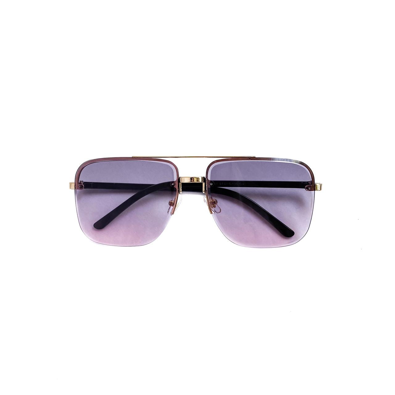 Имиджевые солнцезащитные очки унисекс в тонкой металлической оправе vN7939