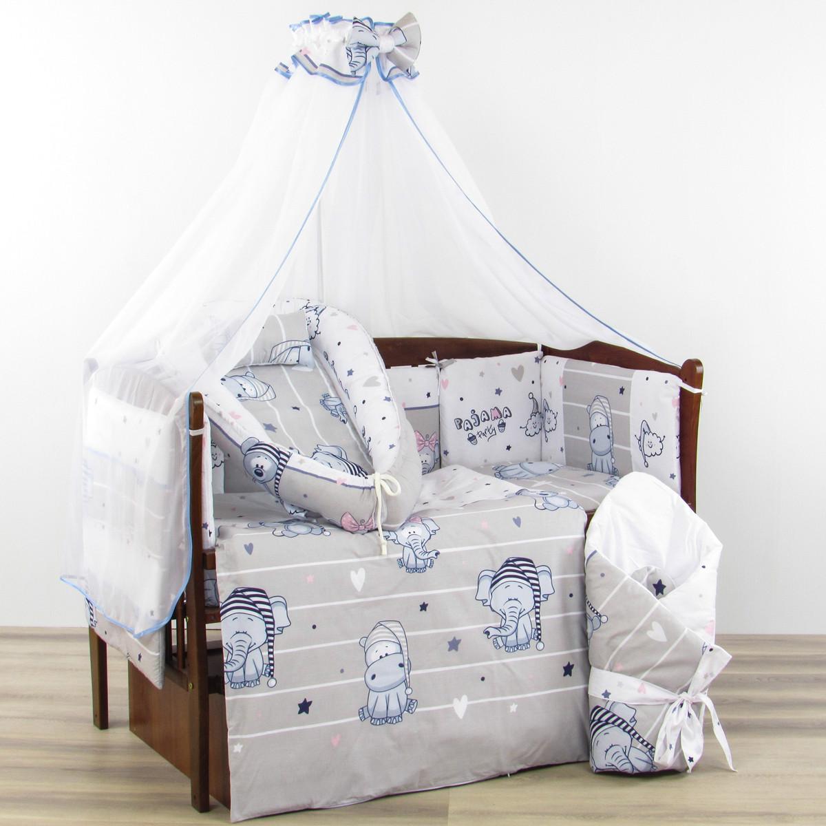 Комплект 10 предметов праздник зверушек серого цвета бортики подушки