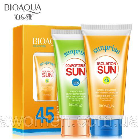 Уценка! Солнцезащитный набор Bioaqua Sun Screen Sunprise 45 SPF/PA+++ (мятая коробка)