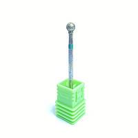 Насадка алмазная шарик для маникюра зеленая насечка (А)