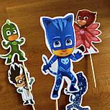 Комплект топперов Супер герої в масках | | Топпери на торт для дітей | Комплект топперов з принтами, фото 2