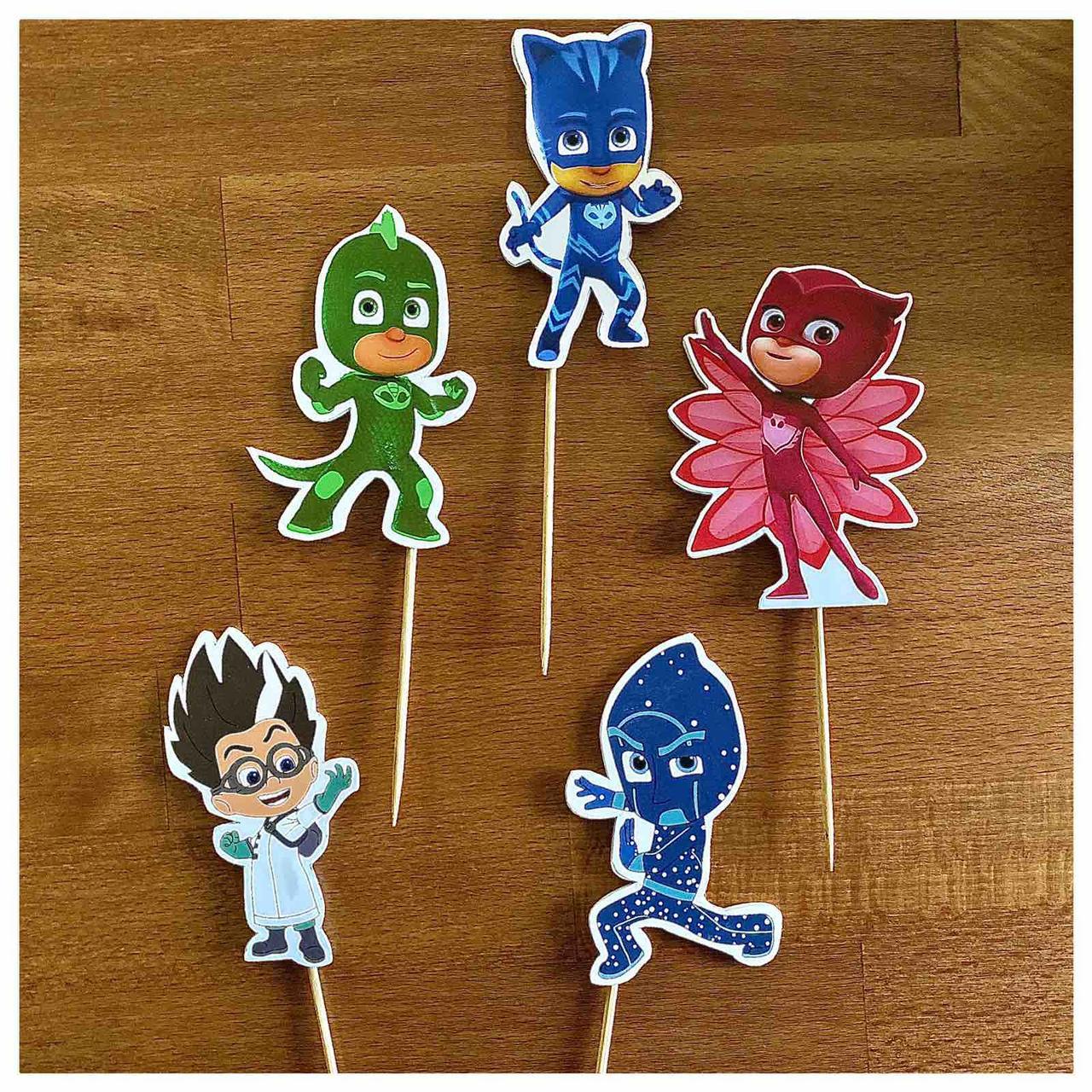 Комплект топперов Супер герої в масках | | Топпери на торт для дітей | Комплект топперов з принтами