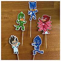 Комплект топперов Супер герои в масках     Топперы на торт для детей   Комплект топперов с принтами