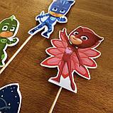 Комплект топперов Супер герої в масках | | Топпери на торт для дітей | Комплект топперов з принтами, фото 8