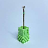 Насадка алмазная шарик для маникюра зеленая насечка (Б)