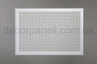 """Решетка на чугунную батарею """"Стандарт"""", 68 см х 128 см, цвет белый"""
