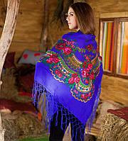 Украинский платок (125х125см, синий)