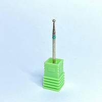 Насадка алмазная шарик для маникюра зеленая насечка (В)