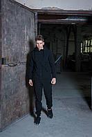 Мужской костюм черный демисезонный Intruder. Куртка мужская черная, штаны утепленные. Бафф в подарок