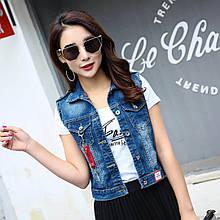 Жіноча джинсова жилетка