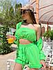 Женский летний костюм тройка с шортами, топом и мастеркой на молнии 71st674, фото 3